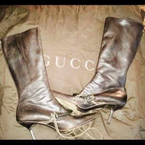Gucci Designer Long Brown Leather Boots